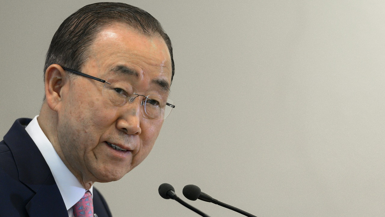 UN Secretary General Ban Ki-moon gives a press conference following a conference on the prevention against violent extremism around the world at the UN Offices in Geneva on April 8, 2016. The United Nations is hosting a conference on preventing violent extremism around the world, with UN chief Ban Ki-moon set to open high-level talks drawing around 30 government ministers. / AFP PHOTO / FABRICE COFFRINI