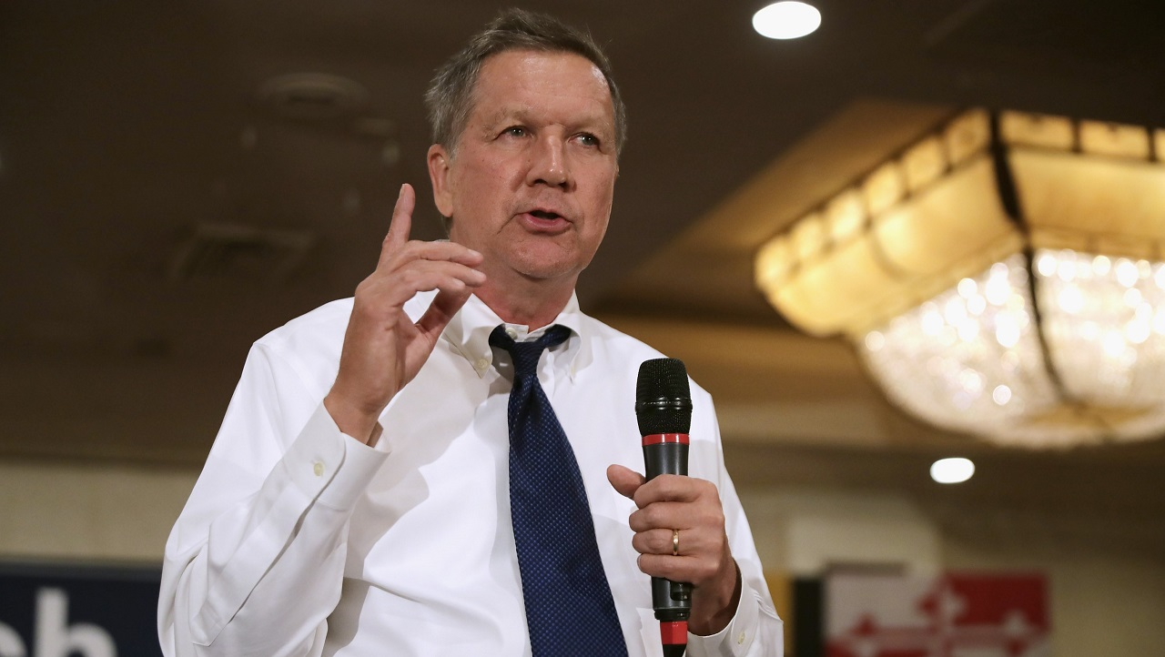 ANNAPOLIS, MD - APRIL 19: Republican presidential candidate John Kasich holds a packed campaign town hall meeting in the ballroom at a Crowne Plaza hotel April 19, 2016 in Annapolis, MD. Voters are going to the polls in the New York primary election today where Kasich and his fellow candidate Sen. Ted Cruz (R-TX) are hoping to keep their rival for the nomination Donald Trump from winning all 95 of that state's delegates. Chip Somodevilla/Getty Images/AFP