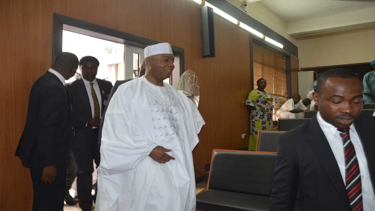 Senate President Dr. Bukola Saraki during his ongoing trial on false asset declaration at the code of conduct Tribunal in Abuja yesterday. Photo Ladidi Lucy Elukpo.