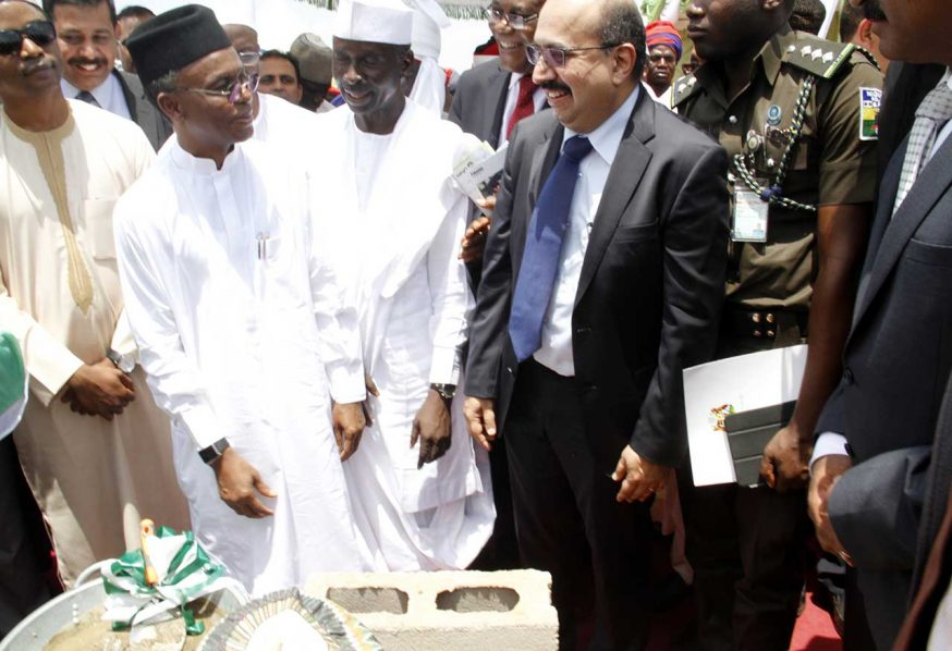 L-R- Governor of Kaduna State, Malam Nasir El-rufai,Deputy Governor Kaduna State,Mr.Barnabas Bantex and managing Director,Africa and Middle East,Olam International,Mr.Venkataramani Srivathsan during the Groundbreaking Ceremony of the Animal Feed and Protein Business in Kaduna yesterday. Photo Ladidi Lucy Elukpo.