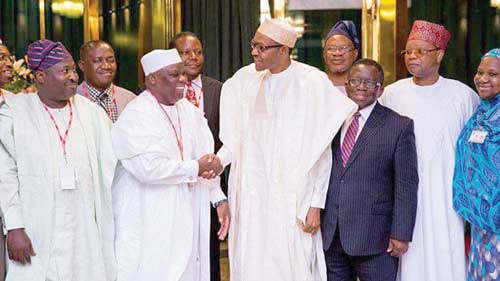Immediate Past President of the Pharmaceutical Society of Nigeria (PSN), Olumide Akintayo; President of PSN, Ahmed Yakasai; President Muhammadu Buhari; Health Minister, Prof. Isaac Adewole; President Nigeria Academy of Pharmacy and former Health Minister, Prince Julius Adelusi-adeluyi during a courtesy call on PMB at Aso Rock Villa Abuja by the PSN