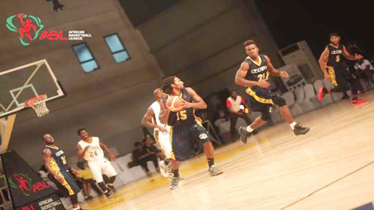 Lagos Islanders and Izobe of Gabon battling for points in one of the African Basketball League matches at the Landmark Event Centre, Lagos…recently.