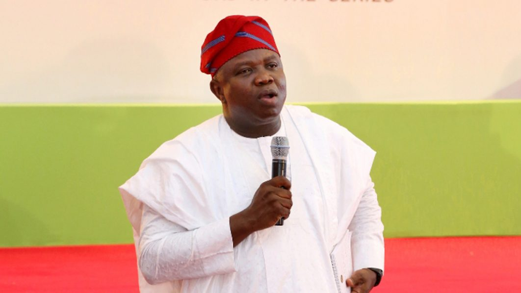 Lagos State Governor, Akinwunmi Ambode, speaking at the Quarterly Town Hall Meeting (3rd In The Series) held on Thursday April 14th, 2016 at Ikorodu Town Hall, Ikorodu. PHOTO: LASG