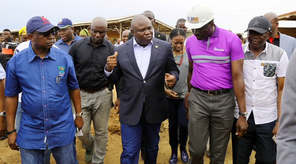 Ambode on an inspection tour of Agric Park, new Mile 12 market, relocation site for Sawmillers in Ikorodu on April 12, 2016. PHOTO: LASG