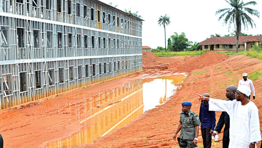 Governor State of Osun, Ogbeni Rauf Aregbesola, Inspecting the on-going construction site of Osogbo High School