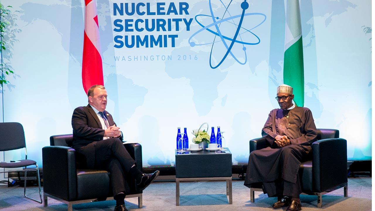 President Buhari holds bilateral talks with His Excellency, Prime Minister of Denmark, Lars L. Rasmussen, on the sidelines of the Nuclear Security Summit at the Walter Washington Convention Centre…yesterday.