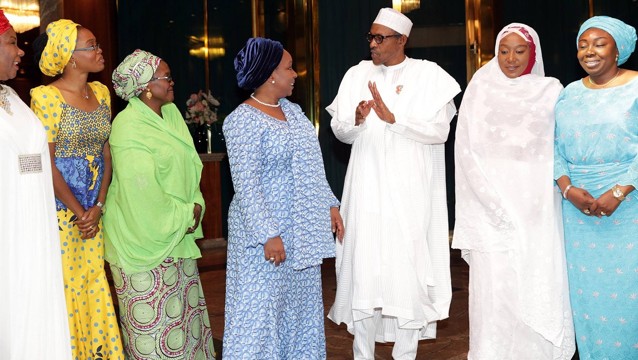 President Muhammadu Buhari and members of  Women In Politics Forum (WIPF) during a courtesy visits on the President by members of the Forum on January 2, 2016