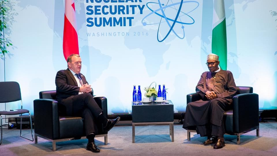 President Muhammadu Buhari and Lars L. Rasmussen, Prime Minister of Denmark, during a bilateral meeitng on the sidelines of the 4th Nuclear Security Summit