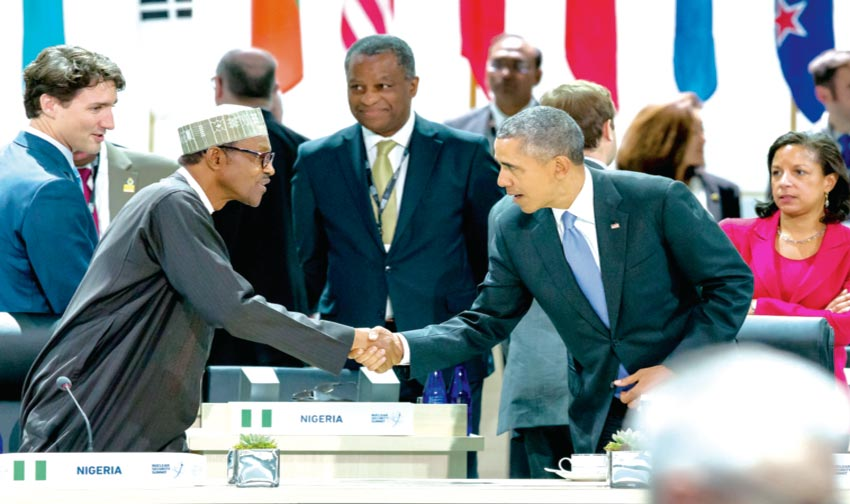 President Buhari exchanging pleasantries with President Obama alongside other world leaders at the Nuclear Security Summit in the United States. With them are Canadian Prime Minister Justin Trudeau (left) and Minister of Foreign Affairs Geoffrey Onyeama.