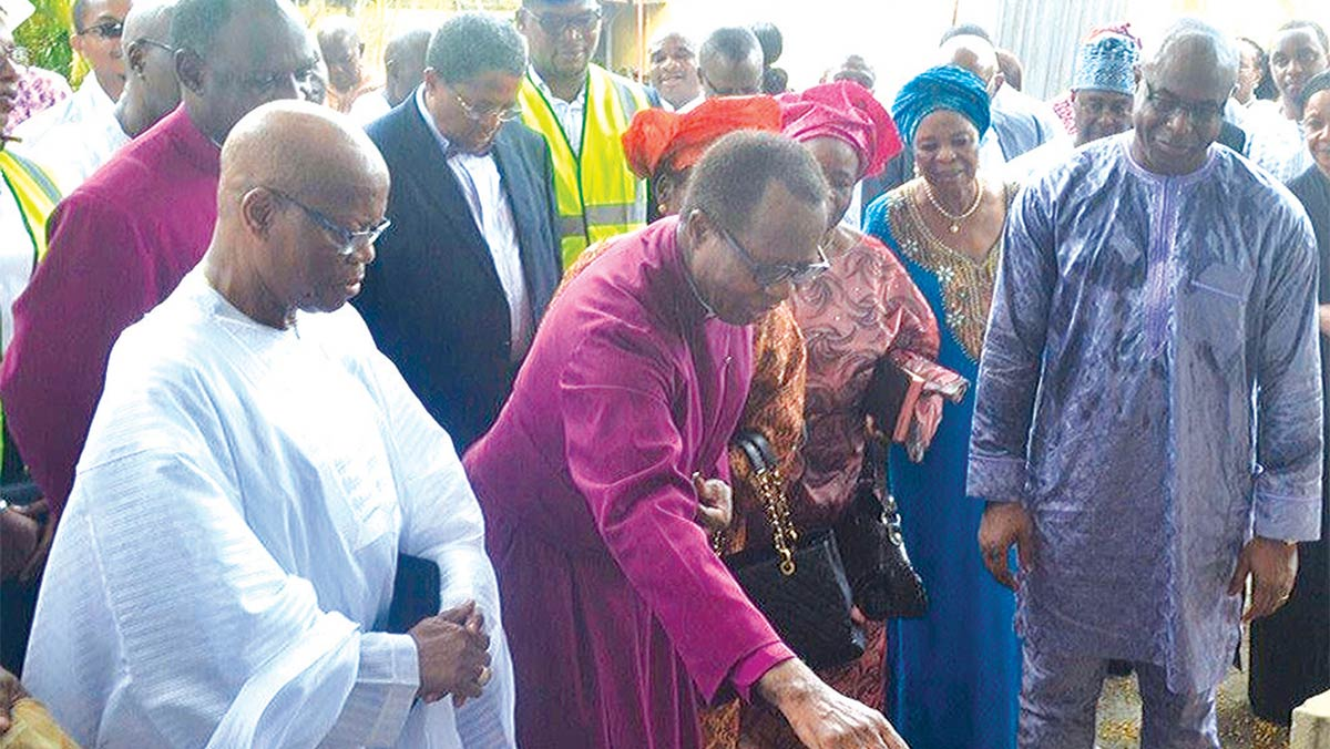 The Archbishop of the Ecclesiastical Province of Lagos, Most Rev. Dr. Ephraim Ademowo (centre); Chief Dr. Ezekiel Ainabe (left) and  Managing Director of CMB, Mr. Kelechukwu Mbagwu during the groundbreaking ceremony for the Zeeks Pearl Apartments in Lagos