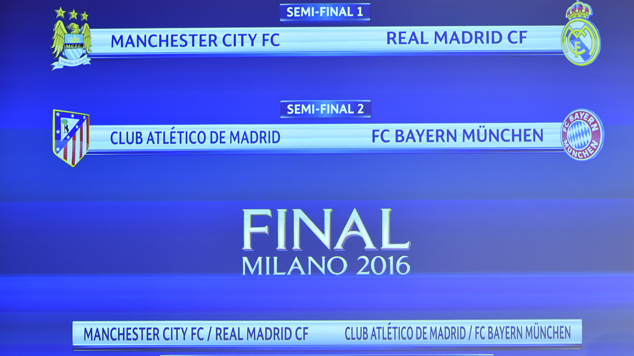 A screen shows the clubs that will be facing each other during the semi-final draw for the UEFA Champions League at the UEFA headquarters in Nyon on April 15, 2016. AFP PHOTO / FABRICE COFFRINI / AFP PHOTO / FABRICE COFFRINI
