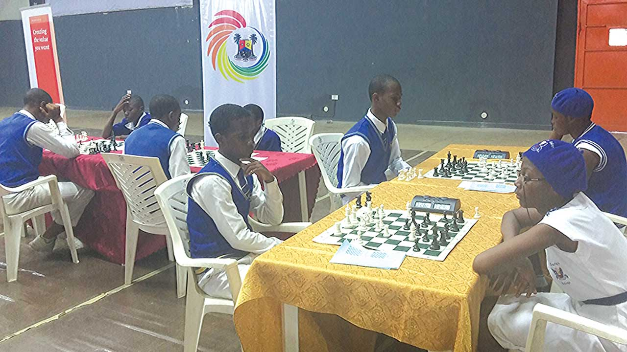 Participants at the on-going PwC Chess4Change Grand Slam Tournament holding at the Teslim Balogun Stadium, Lagos. The competition is meant for secondary school students in Lagos.