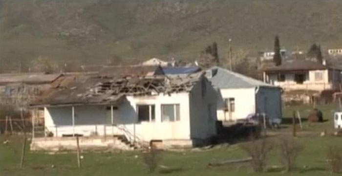 A house which was damaged during clashes between Armenian and Azeri forces is seen in Nagorno-Karabakh region.