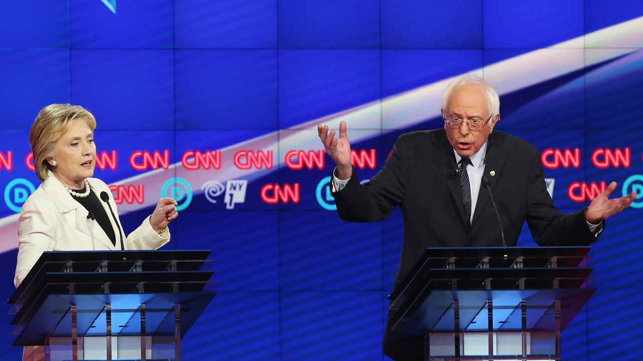 NEW YORK, NY - APRIL 14: Democratic Presidential candidates Hillary Clinton and Sen. Bernie Sanders (D-VT) debate during the CNN Democratic Presidential Primary Debate at the Duggal Greenhouse in the Brooklyn Navy Yard on April 14, 2016 in New York City. The candidates are debating ahead of the New York primary to be held April 19. Justin Sullivan/Getty Images/AFP