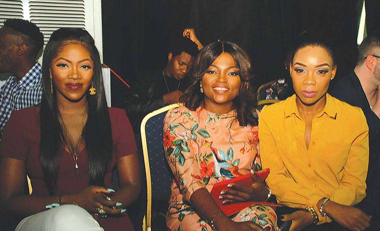 Singer, Tiwa Savage (left); Nollywood Actress, Funke Akindele and dancer, Kafayat Kaffy Shafau