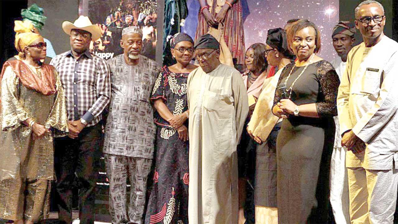 Taiwo Ajai-Lycett; Akin Fatunke; Odian Ofeimun; Mrs. Osofisan; Prof. Bayo Oduneye; Ayo Jaiyesimi and Gbenga Onabanjo at Thespian Family Theatre event to mark this year's World Theatre Day and honour theatre veterans… in Lagos
