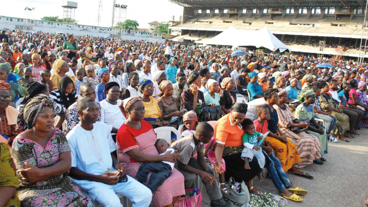 A cross section of worshippers at the crusade