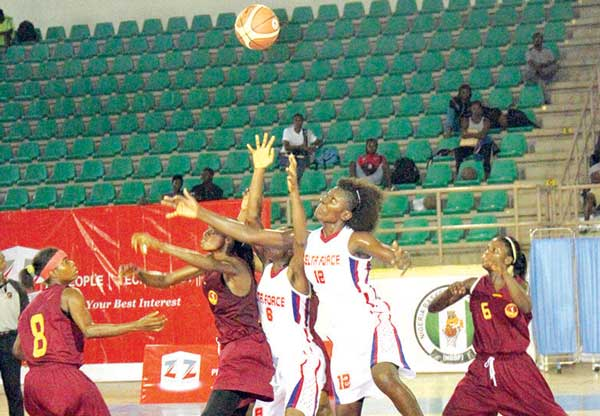 Delta Force Basketball team in action at the phase of the Zenith Bank Basketball league in Abuja