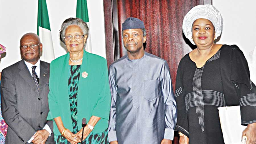 Otunba Olayinka Lawal-Solarin (left); Prof. Grace Alele-Williams, Vice President, Prof. Yemi Osinbajo and Mrs. Remi Agbowu during the visit… in Abuja