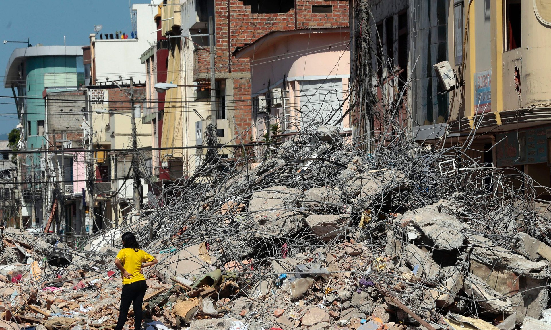Collapsed buildings in Portoviejo, Ecuador. Photograph: Juan Cevallos/AFP/Getty Images