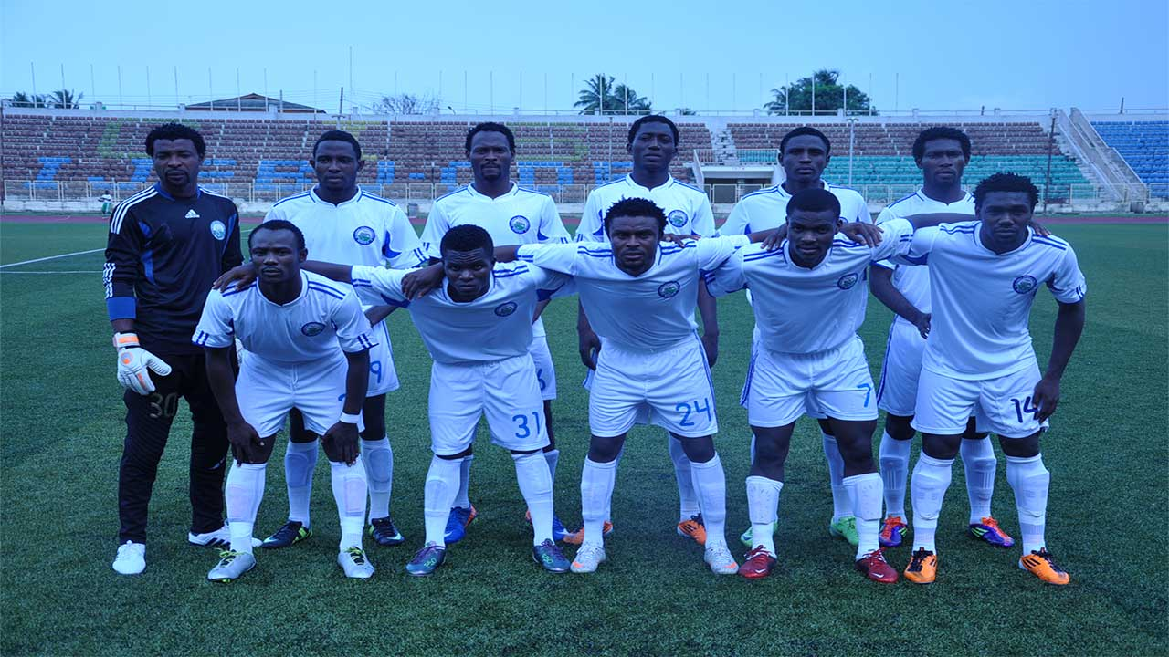 Enyimba Football Club line up before a match.