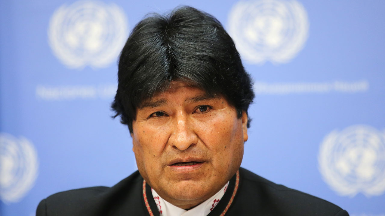 NEW YORK, NY - APRIL 21: President of the PluriNational State of Bolivia Evo Morales Ayma speaks during a press conference at United Nations on April 21, 2016 in New York City.   Jemal Countess/Getty Images/AFP