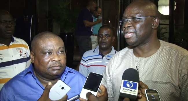 Dr Tope Aluko and Governor Ayodele Fayose after reconciliation. PHOTO: Channels TV