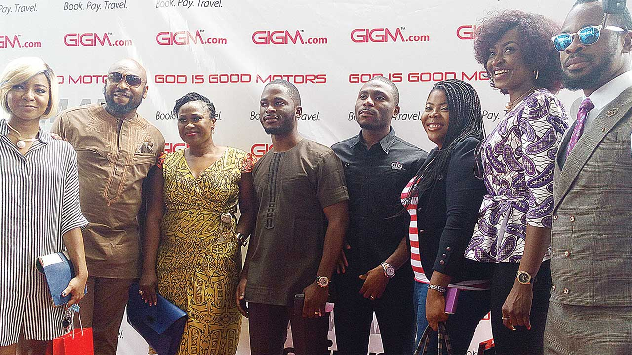 Nollywood stars; Linda Ejiofor. Yaw of Wazobia FM, Uche Jombo, Executive Director, GIG Group, Uche Ajaere, Executive Chairman, Chidi Ajaere, Andre Chika Chukwu, Kate Henshaw, and comedian Efex at the official launch of GIGM app in Lagos.         PHOTO: BENJAMIN ALADE