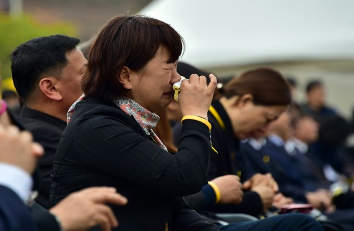 Relatives of the victims of the sunken South Korean ferry Sewol during the second anniversary memorial.
