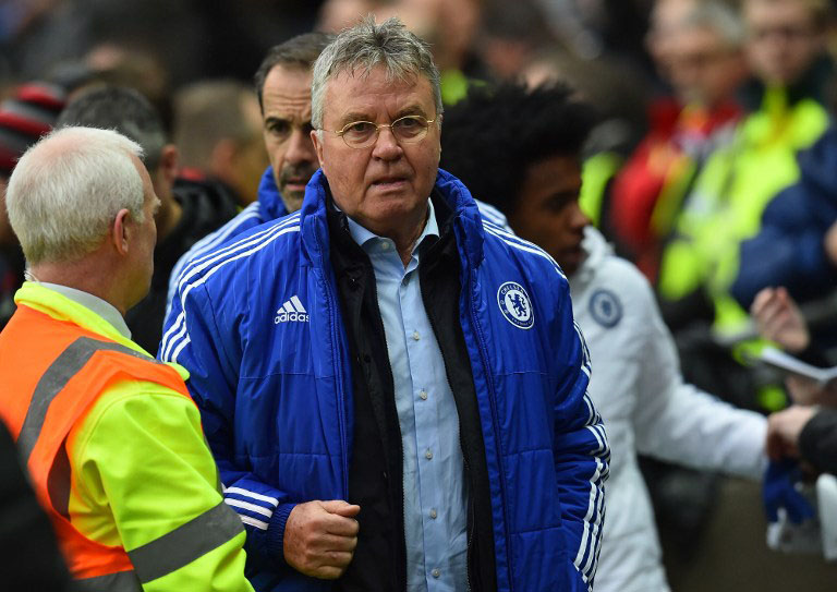 Chelsea's Dutch interim manager Guus Hiddink arrives ahead of the English FA Cup fourth round football match between MK Dons and Chelsea at Stadium MK in Milton Keynes, central England, on January 31, 2016. / AFP / BEN STANSALL /