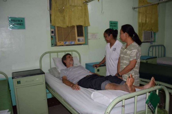 Retired Italian priest Rolando Del Torchio receiving treatment at a military hospital in Zamboanga City in southern island of Mindanao, after his release. PHOTO: AFP/ WESMINCOM