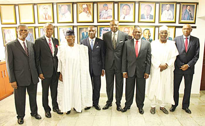 Mr. Goodie M. Ibru, OON (left); Dr. Raymond C. Obieri, OON; Dr. Oba Otudeko, OFR; Chief Executive Officer, The Nigerian Stock Exchange, Oscar N. Onyema, OON, Aigboje Aig-Imoukhuede, Current President, NSE; Alhaji Aliko Dangote, GCON; Alhaji Aliko Mohammed, OFR; Mallam Ballama Manu, at the Closing Gong Ceremony in Hounor of the All Past Presidents at The Exchange recently.
