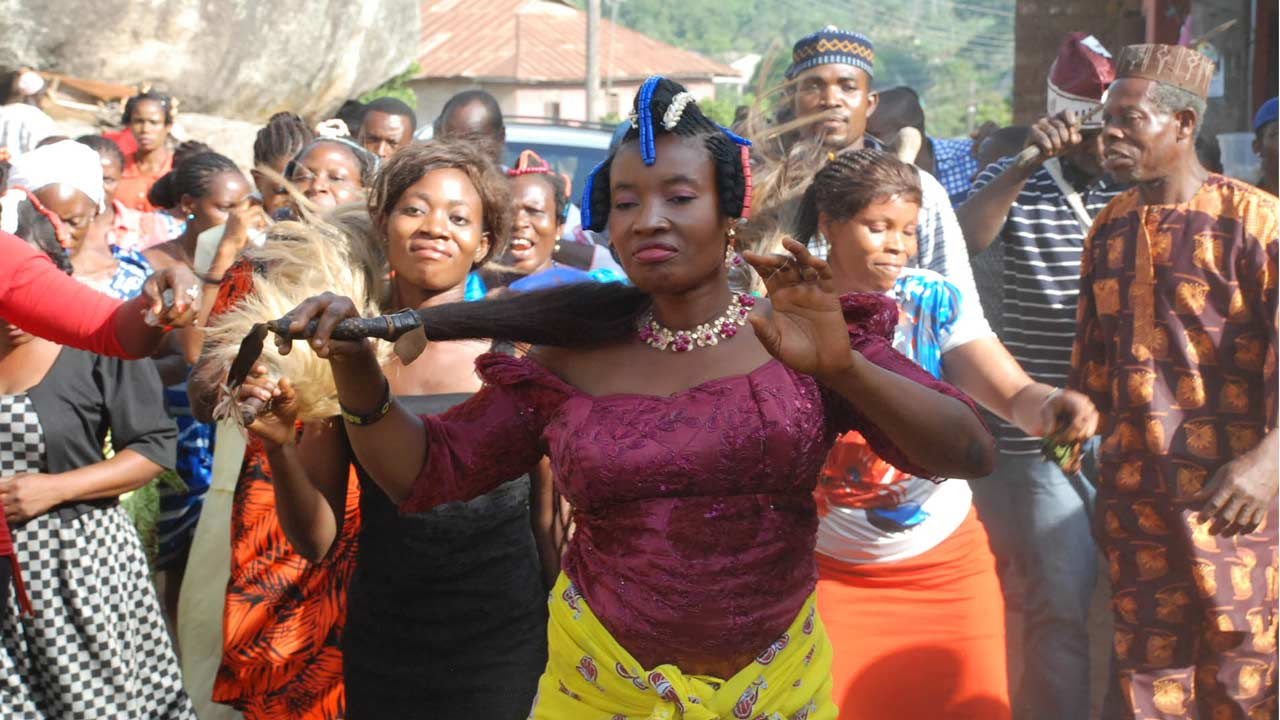 Participants celebrating Itakpo Festival in Ososo, Akoko-Edo, Edo State, last week. The festival is held once in seven years                      PHOTOS: PHILIP OJISUA