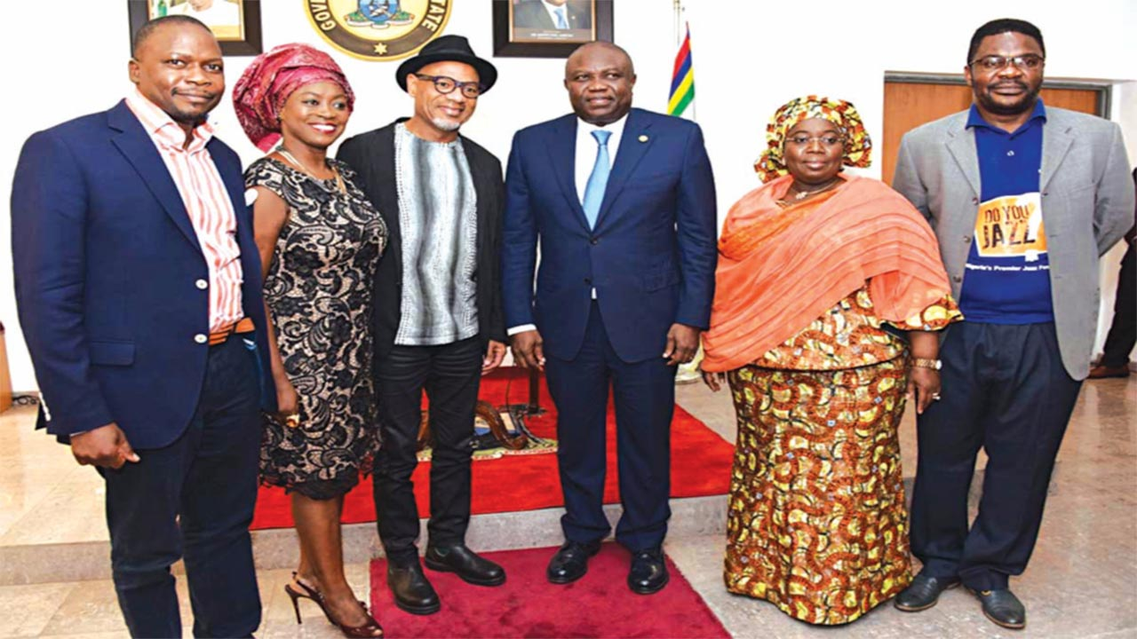Lagos State Governor, Mr. Akinwunmi Ambode (3rd right); Deputy Governor, Dr. Idiat Oluranti Adebule (2nd right); Grammy Award Winner and ace Jazz player, Kirk Whalum (3rd left); Director, Lagos International Jazz Festival 2016, Mr. Ayoola Sadare (right); Yinka Davies and Brand Strategist, Runway Jazz, Mr. Ajani Sandridge (left) during a courtesy visit to Lagos House, Alausa, Ikeja.