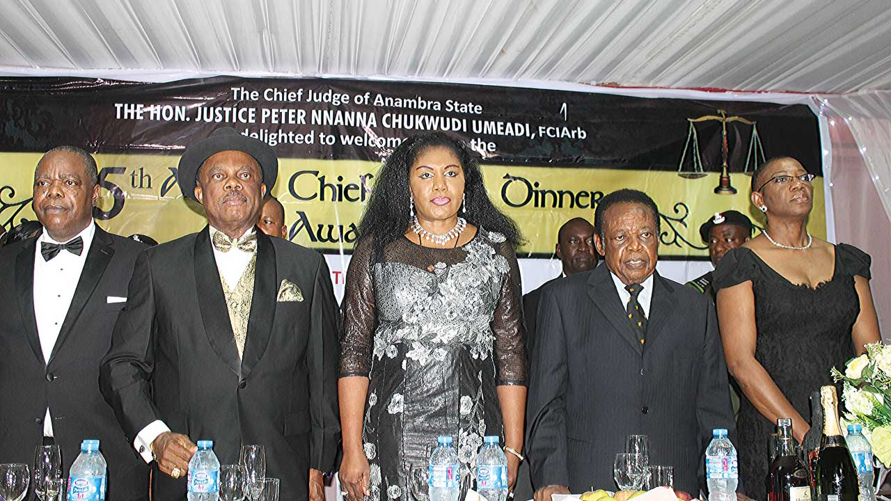 Justice Umeadi (left), Governor Obiano, his wife, Justice Anthony Igu (JSC) rtd. And Miannaya Essien (SAN) at the dinner….recently.