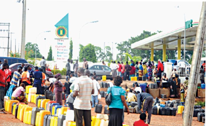 Customers queuing for kerosene
