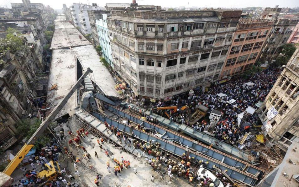 Rescue mission still ongoing at the scene of the India bridge collapse.
