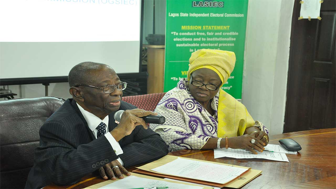 (Left) The Chairman of the Lagos State Independent Electoral Commission (LASIEC), Hon. Justice Afolabi Abdul-Fatai Adeyinka,