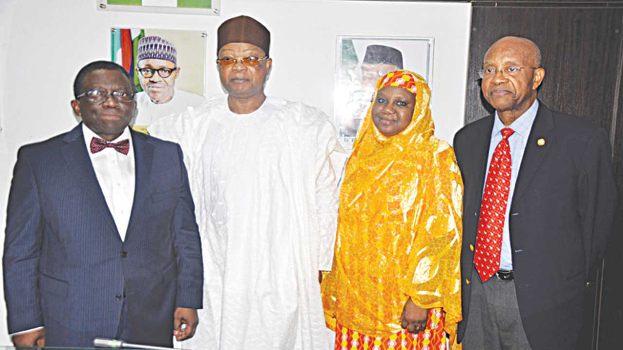 Minister of Health, Dr. Isaac Adewole (left); Chairman, MTN Foundation, Prince Julius Adelusi-Adeluyi; Permanent Secretary, Ministry of Health, Dr. Amina Shamaki; and MTN Director, Mr. Dennis Okoro, during the courtesy visit of MTN Foundation to the Minister of Health in Abuja…Tuesday