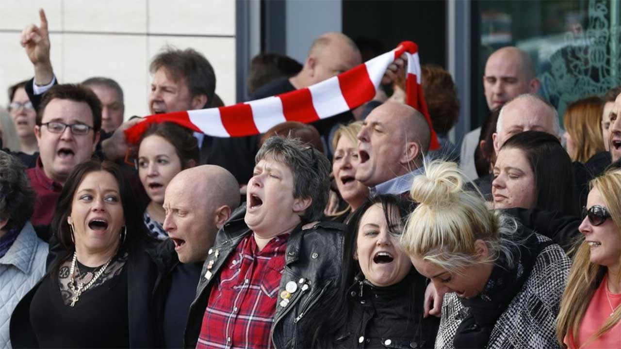 Relatives rejoice after the Inquest concluded that, ninety-six football fans who died as a result of a crush in the 1989 Hillsborough disaster were unlawfully killed,