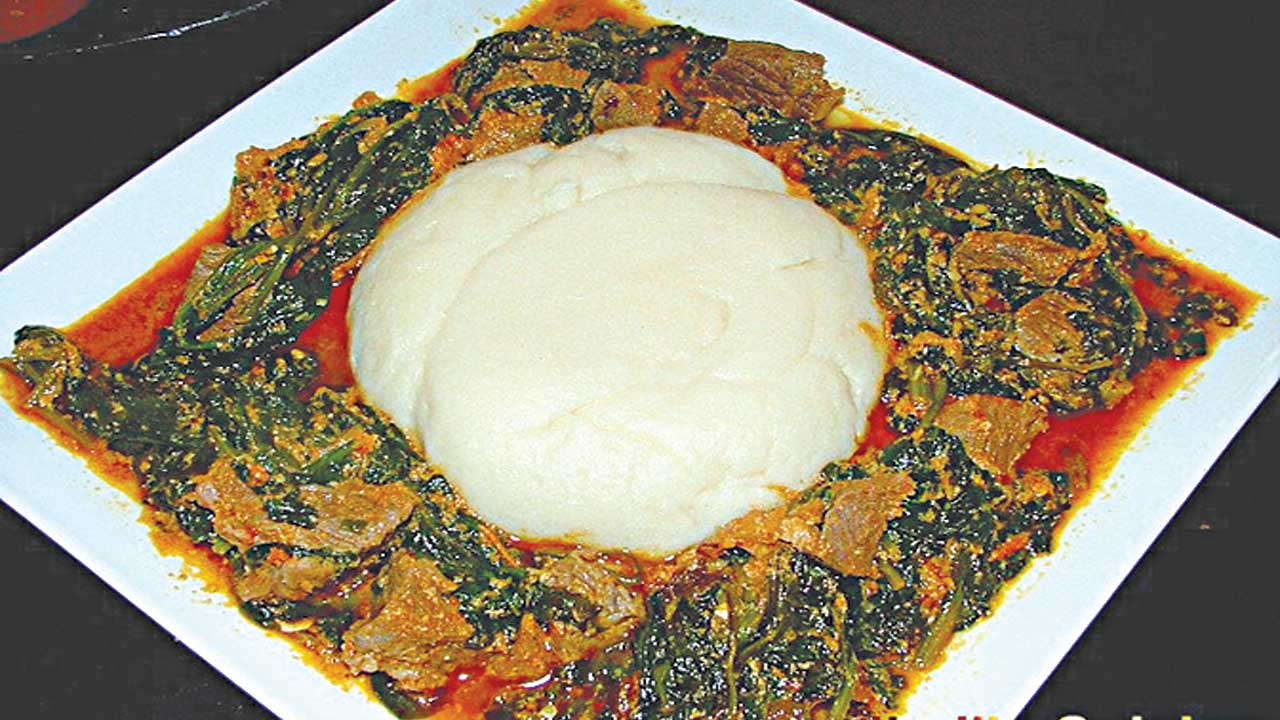 Want to live a healthy, long life? Eat local... Local delicacies such as Egusi/vegetable soup with pounded unripe plantain/yam are recommended by medical experts                                  PHOTO: google.com/search