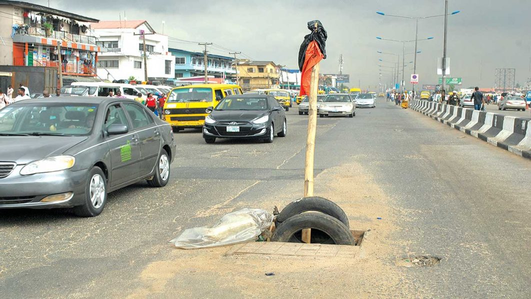 One of such manholes at Bolade Oshodi Bus Stop, Lagos