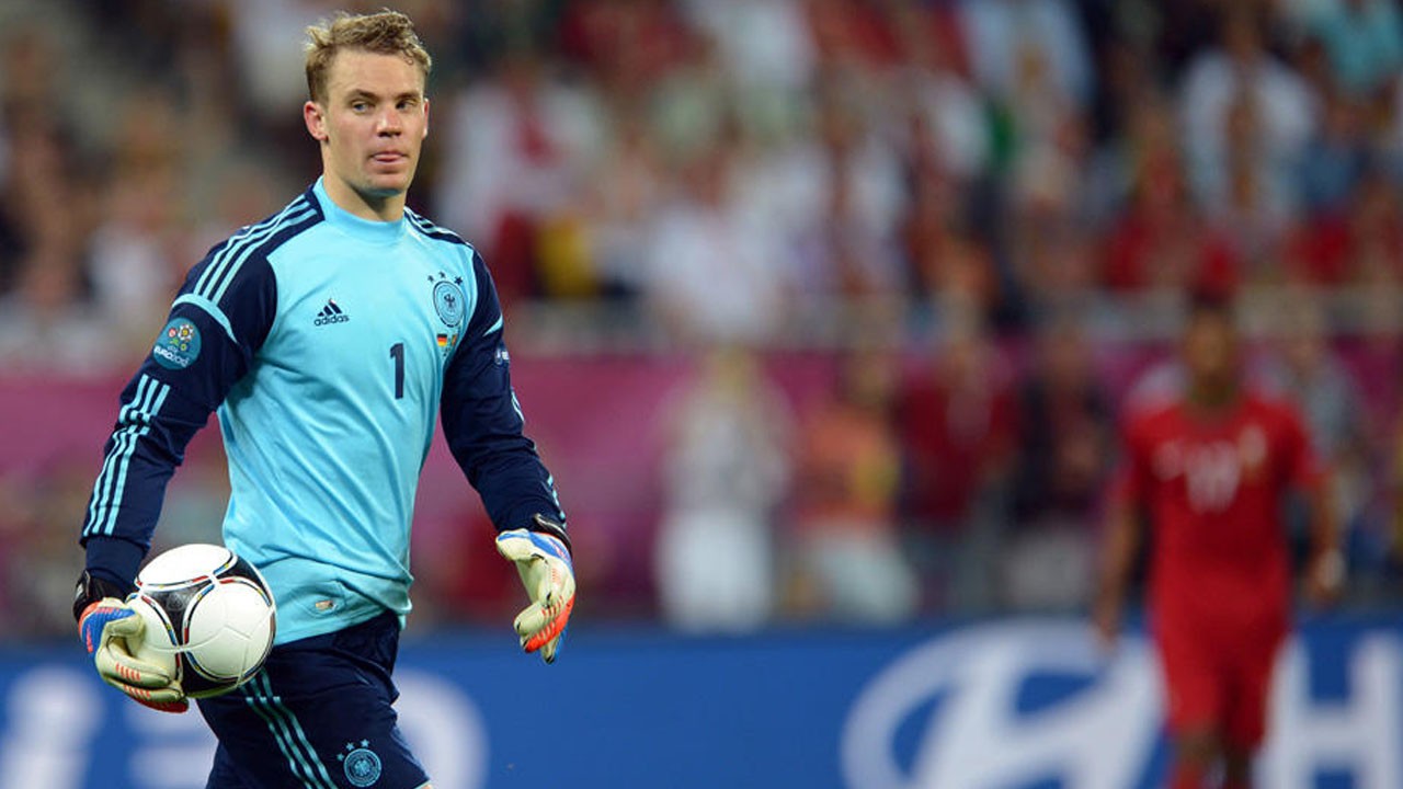 Germany's goalkeeper Manuel Neuer holds the ball during UEFA EURO 2012 group B soccer match Germany vs Portugal at Arena Lviv in Lviv, the Ukraine, 09 June 2012. PHOTO:AFP