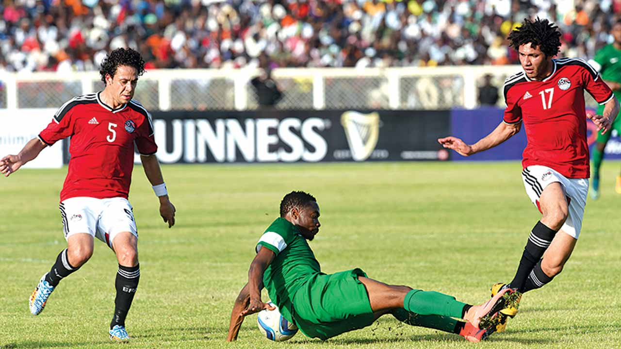 Super Eagles' star, Ahmed Musa (centre) falls on the ball during the African Cup of Nations qualifier on March 25, 2016, in Kaduna. PHOTO: AFP