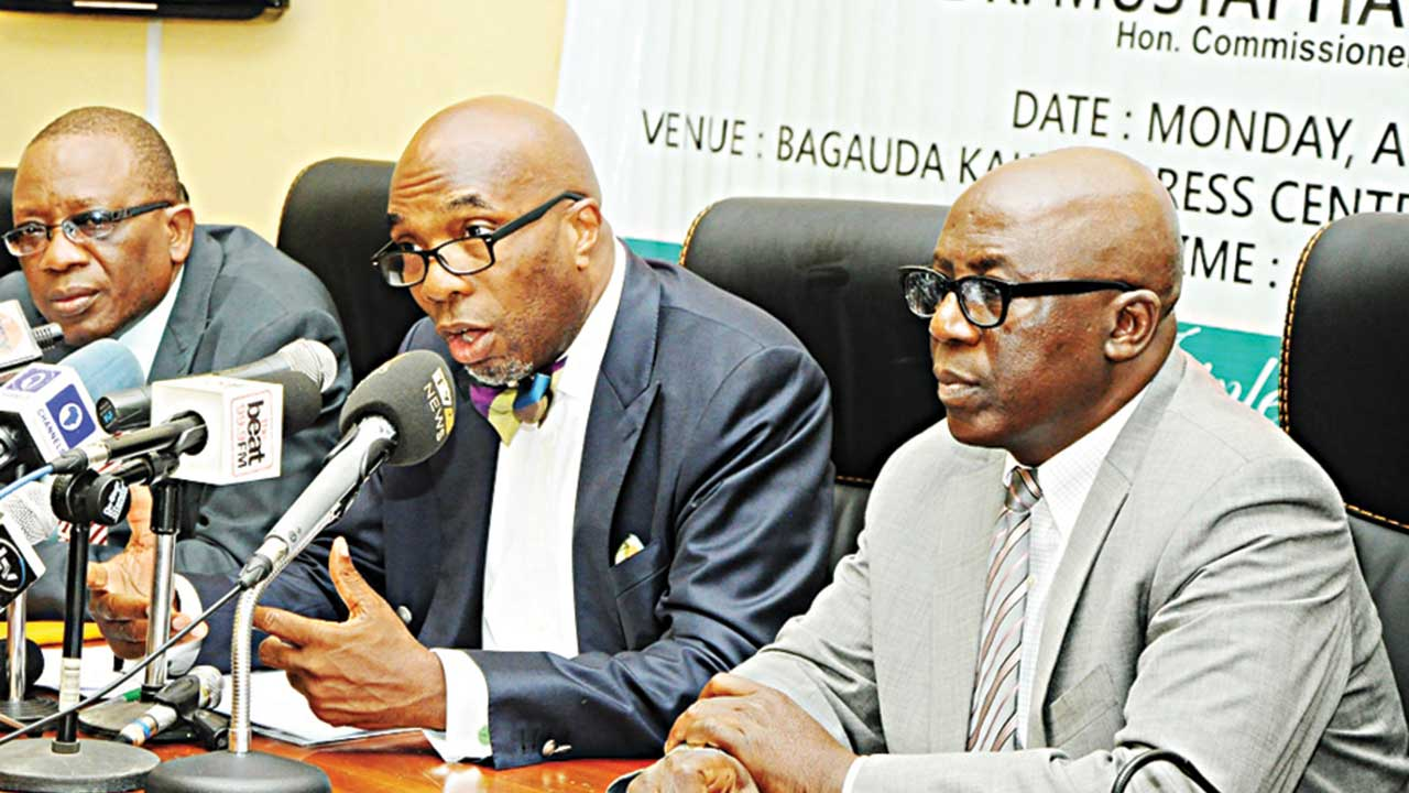 Lagos State Commissioner for Finance, Dr. Mustapha Akinkunmi flanked by the Permanent Secretary, Tunde Ogunleye (left) and his counterpart in the Ministry of Information and Strategy, Fola Adeyemi; during a press briefing on Land Use charge at Alausa, Ikeja…yesterday.