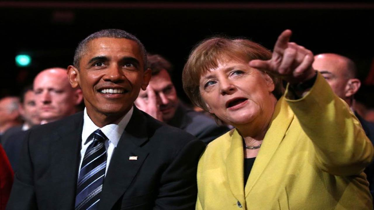 US President Barack Obama and German Chancellor Angela Merkel attend the Hanover Industry Fair on April.