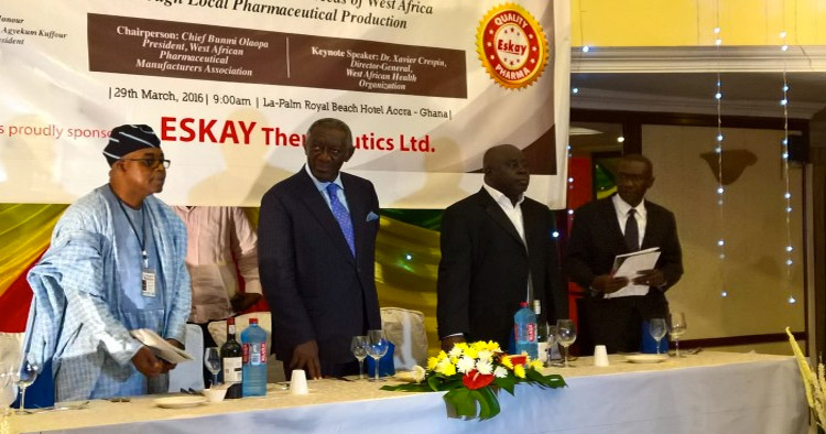 First right, Mr Okey Akpa, President WAPMA, third right, HE John Agyeman
