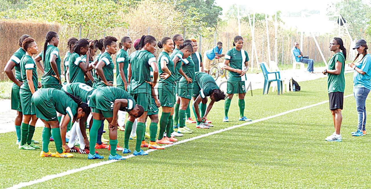 Coach Florence Omagbemi addressing the Super Falcons before Nigeria's 2-0 defeat of Senegal …yesterday.