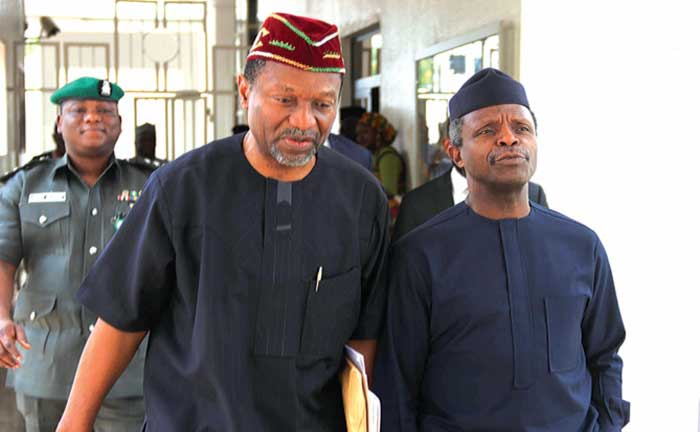 Vice President Yemi Osinbajo and Minister of National Planning, Senator Udoma Udo Udoma after the emergency Federal Executive Council (FEC) meeting at the State House, Abuja…yesterday. PHOTO: PHILIP OJISUA