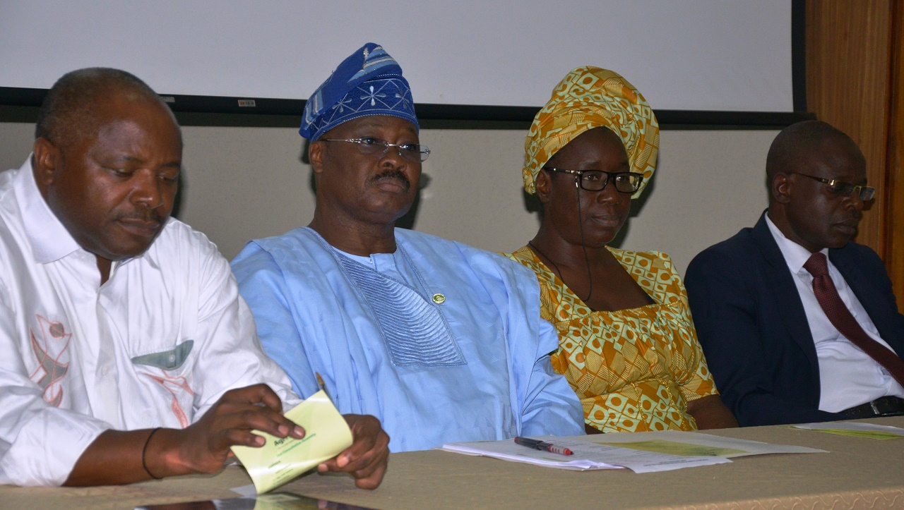 L-R: Director-General, International Institute of Tropical Agriculture, Dr. Nteranya Sanginga; Oyo State Governor, Senator Abiola Ajimobi; Regional Director (South-West), Federal Ministry of Agriculture and Rural Development, Mrs. Comfort Awe; and Head, Development Finance Office, Central Bank of Nigeria, Ibadan, Mr. Bamiji Akinola, during the second consultative assembly on Oyo State Agriculture Initiative, held at IITA, Ibadan... on Thursday. PHOTO: Oyo State Government.